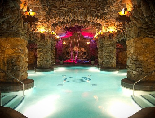 This Incredible Underground Oasis Has Multiple Entries At Varying Depths Unbelievable Stonework Around The Walls And Trendy Pink Lighting